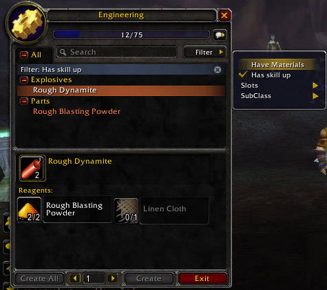 Crafting interface showing the new filters