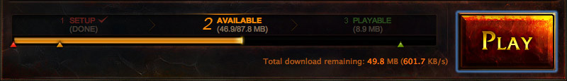 The Launcher, showing the amount downloaded for a new patch