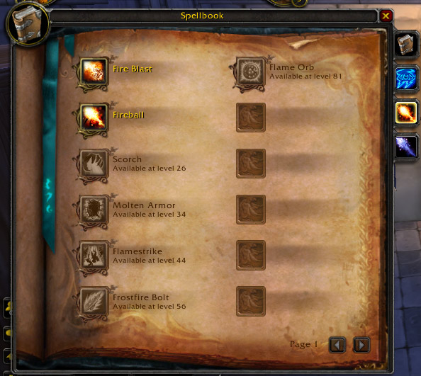 Redesigned spellbook interface